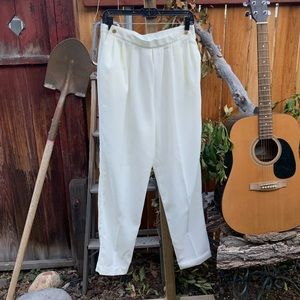 Vintage High Waisted Side Button Tapered Pants